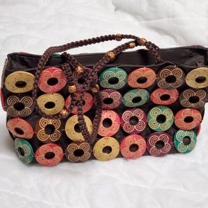 Tote Bag with Wood Circle Embellishments